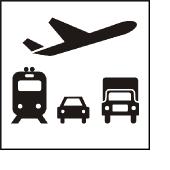 Icon Verkehr und Telekommunikation (mit Rand)