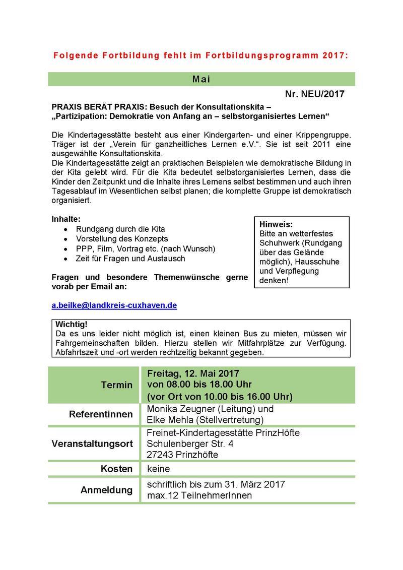 Nachtrag zum Fortbildungprogramm: Konsulationskita am 12. Mai 2017